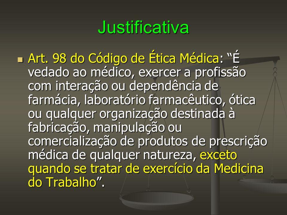 """Justificativa  Art. 98 do Código de Ética Médica: """"É vedado ao médico, exercer a profissão com interação ou dependência de farmácia, laboratório farm"""