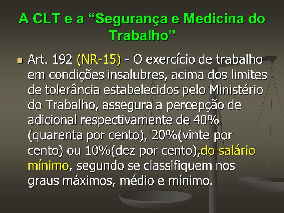 """A CLT e a """"Segurança e Medicina do Trabalho""""  Art. 192 (NR-15) - O exercício de trabalho em condições insalubres, acima dos limites de tolerância est"""