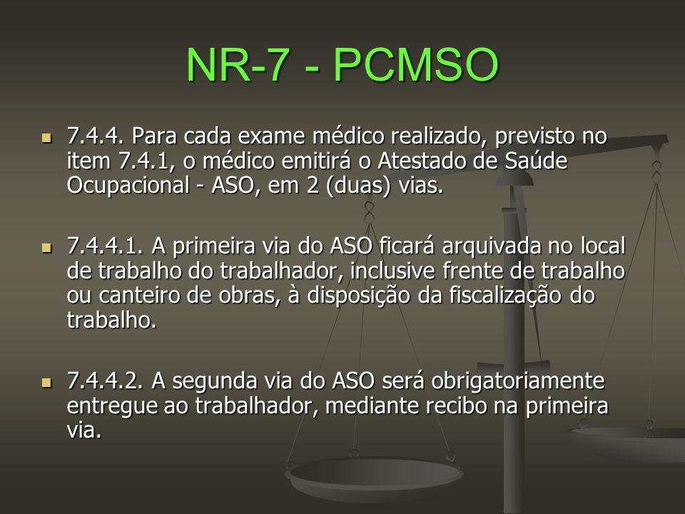 NR-7 - PCMSO  7.4.4. Para cada exame médico realizado, previsto no item 7.4.1, o médico emitirá o Atestado de Saúde Ocupacional - ASO, em 2 (duas) vi