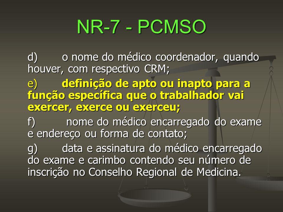 NR-7 - PCMSO d) o nome do médico coordenador, quando houver, com respectivo CRM; e) definição de apto ou inapto para a função específica que o trabalh