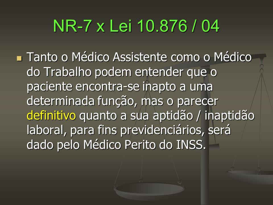NR-7 x Lei 10.876 / 04  Tanto o Médico Assistente como o Médico do Trabalho podem entender que o paciente encontra-se inapto a uma determinada função