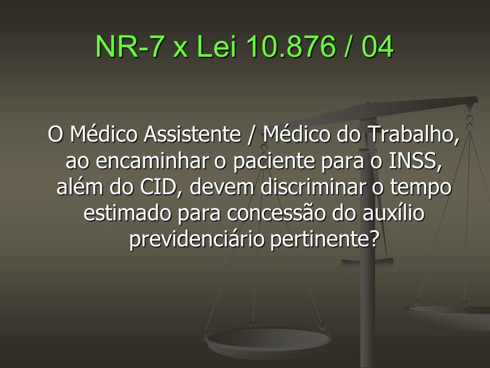 NR-7 x Lei 10.876 / 04 O Médico Assistente / Médico do Trabalho, ao encaminhar o paciente para o INSS, além do CID, devem discriminar o tempo estimado