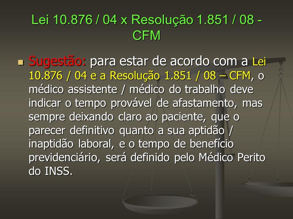 Lei 10.876 / 04 x Resolução 1.851 / 08 - CFM  Sugestão: para estar de acordo com a Lei 10.876 / 04 e a Resolução 1.851 / 08 – CFM, o médico assistent