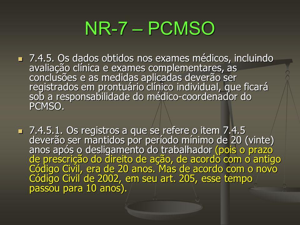 NR-7 – PCMSO  7.4.5. Os dados obtidos nos exames médicos, incluindo avaliação clínica e exames complementares, as conclusões e as medidas aplicadas d