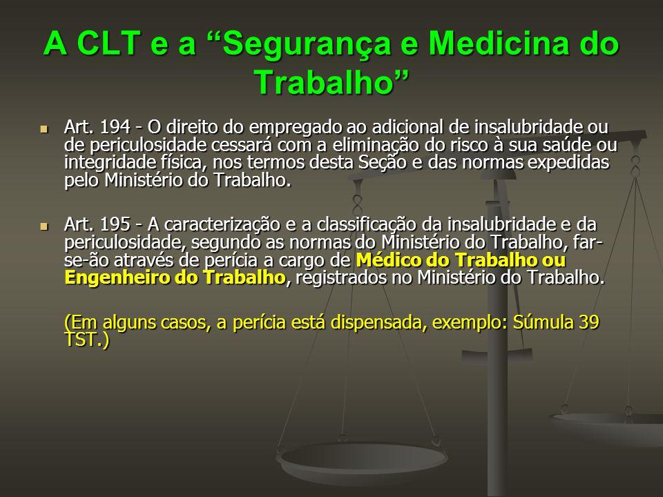 """A CLT e a """"Segurança e Medicina do Trabalho""""  Art. 194 - O direito do empregado ao adicional de insalubridade ou de periculosidade cessará com a elim"""
