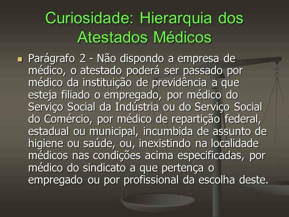 Curiosidade: Hierarquia dos Atestados Médicos  Parágrafo 2 - Não dispondo a empresa de médico, o atestado poderá ser passado por médico da instituiçã