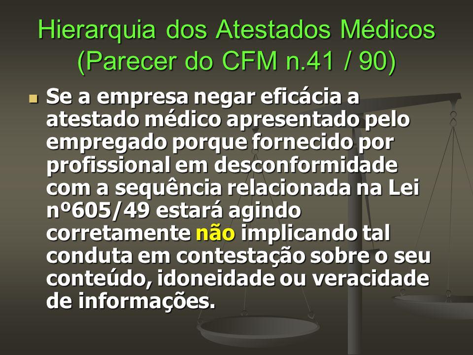 Hierarquia dos Atestados Médicos (Parecer do CFM n.41 / 90)  Se a empresa negar eficácia a atestado médico apresentado pelo empregado porque fornecid