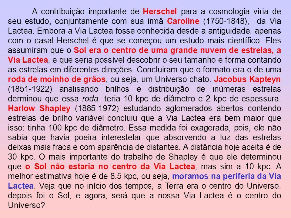 A contribuição importante de Herschel para a cosmologia viria de seu estudo, conjuntamente com sua irmã Caroline (1750-1848), da Via Lactea. Embora a
