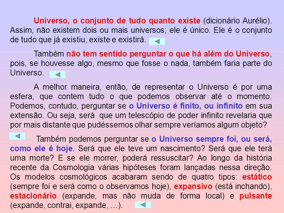 Universo, o conjunto de tudo quanto existe (dicionário Aurélio). Assim, não existem dois ou mais universos; ele é único. Ele é o conjunto de tudo que