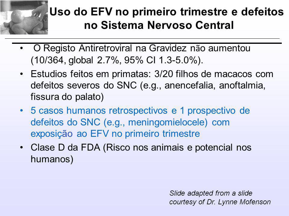 Uso do EFV no primeiro trimestre e defeitos no Sistema Nervoso Central • O Registo Antiretroviral na Gravidez n ã o aumentou (10/364, global 2.7%, 95% CI 1.3-5.0%).