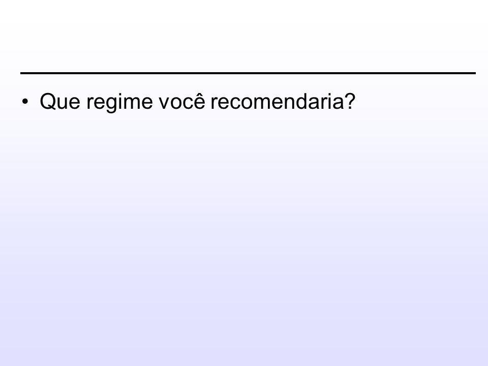 •Que regime você recomendaria?