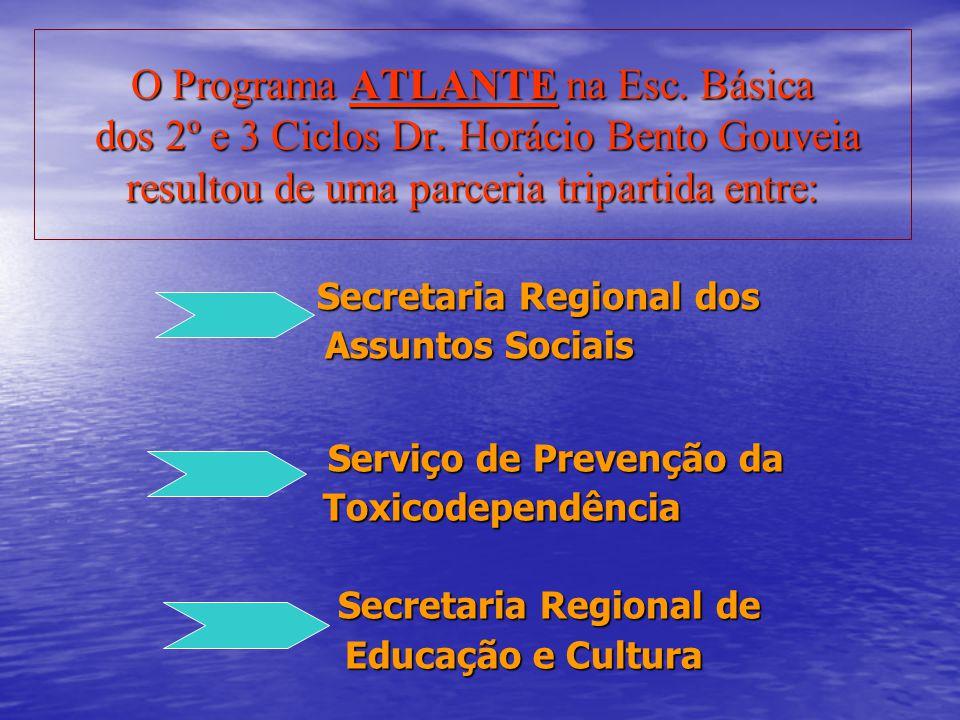 O Programa ATLANTE na Esc. Básica dos 2º e 3 Ciclos Dr. Horácio Bento Gouveia resultou de uma parceria tripartida entre: Secretaria Regional dos Secre