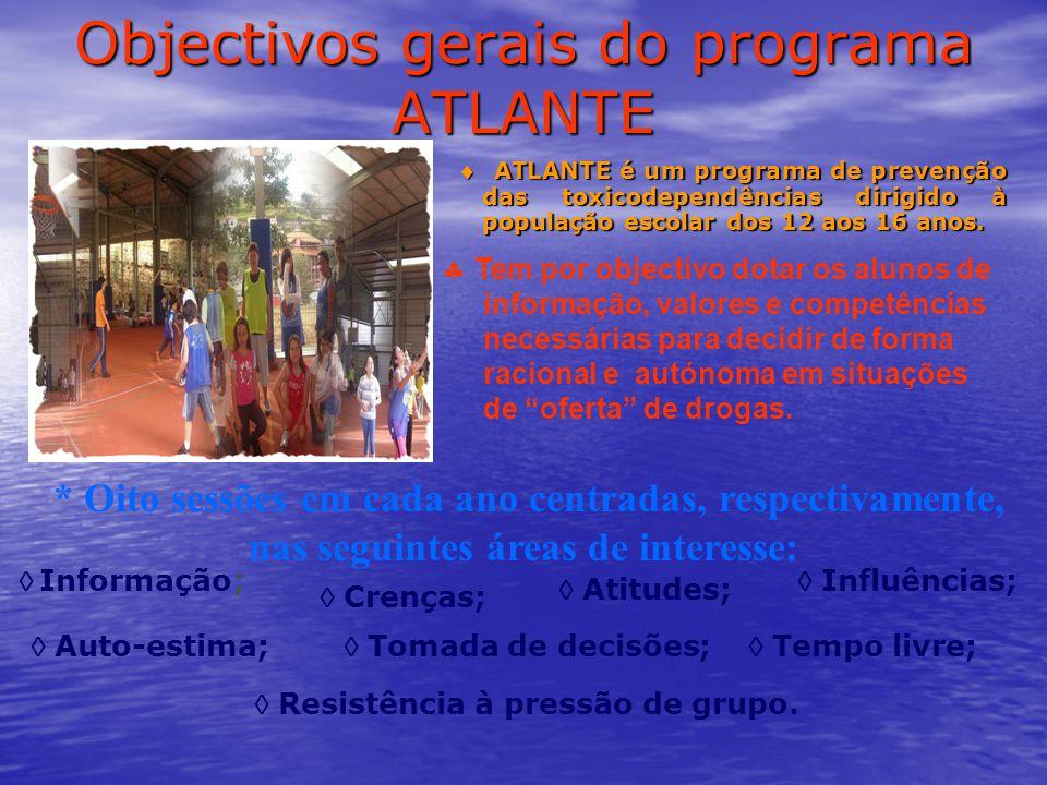 Objectivos gerais do programa ATLANTE  ATLANTE é um programa de prevenção das toxicodependências dirigido à população escolar dos 12 aos 16 anos.  A