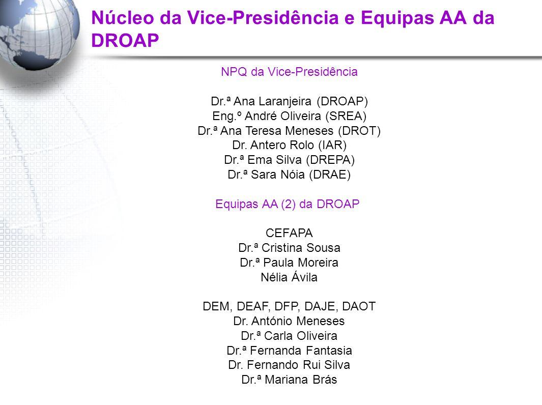 Núcleo da Vice-Presidência e Equipas AA da DROAP NPQ da Vice-Presidência Dr.ª Ana Laranjeira (DROAP) Eng.º André Oliveira (SREA) Dr.ª Ana Teresa Meneses (DROT) Dr.