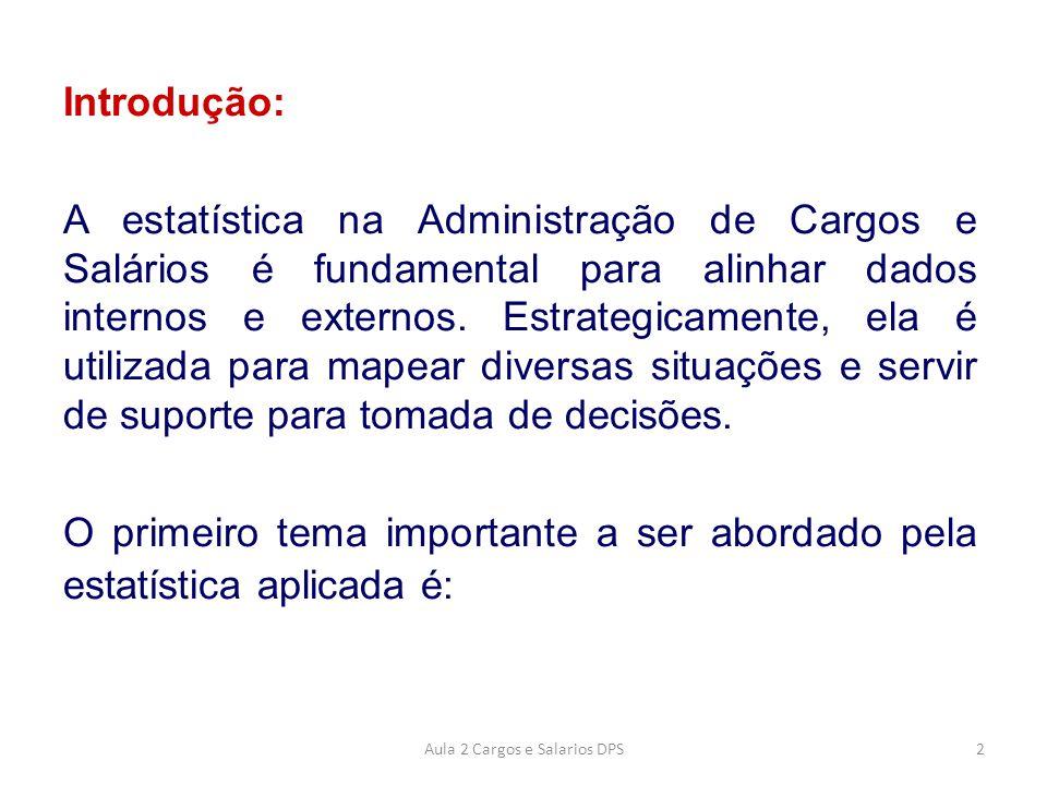 Introdução: A estatística na Administração de Cargos e Salários é fundamental para alinhar dados internos e externos. Estrategicamente, ela é utilizad