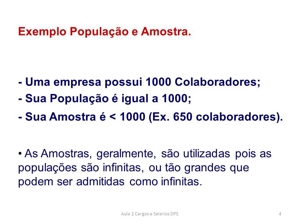 Exemplo População e Amostra. - Uma empresa possui 1000 Colaboradores; - Sua População é igual a 1000; - Sua Amostra é < 1000 (Ex. 650 colaboradores).
