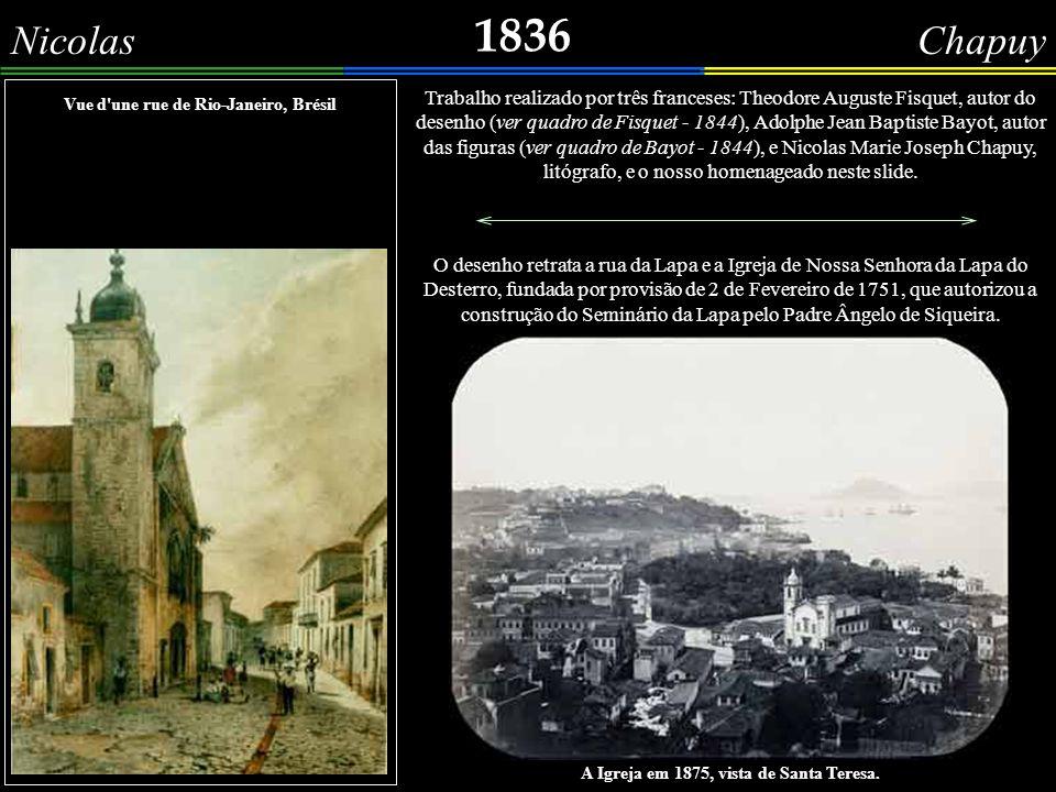 1836 Noél-Aimé Pissis Botafogo - 1836 Uma imagem pouco conhecida da praia de Botafogo, datada de 1836, com o Palacete da Carlota Joaquina, na esquina do antigo Caminho Novo de Botafogo (hoje rua Marquês de Abrantes).
