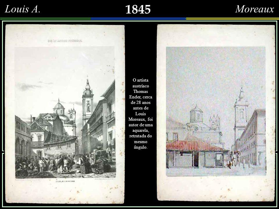 1845 François Moreaux Igreja de Nossa Senhora do Rosário e São Benedito dos Pretos Grafite de François-René Moreaux, intitulada Largo do Rozario – Rio de Janeiro 1845.
