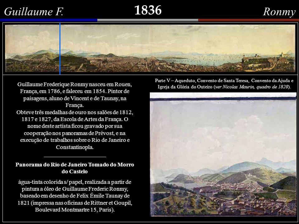 1842 Théodore Galot Detalhes do grafite do artista francês Théodore Alphonse Galot, que representa uma Paisagem de Santa Teresa , com vista para a baía de Guanabara.