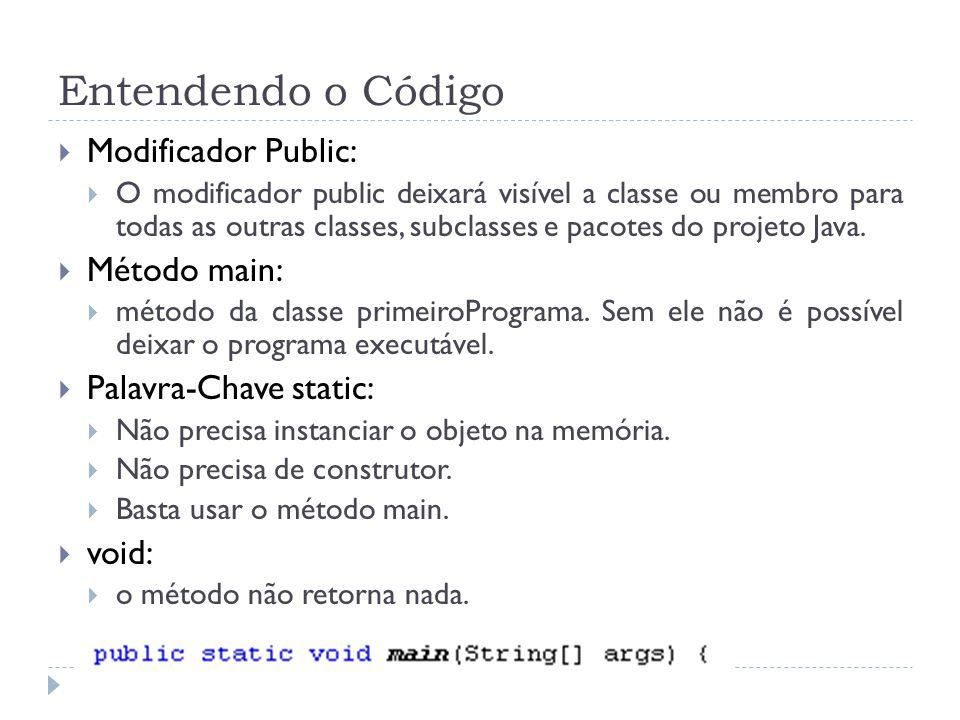 Entendendo o Código  Modificador Public:  O modificador public deixará visível a classe ou membro para todas as outras classes, subclasses e pacotes