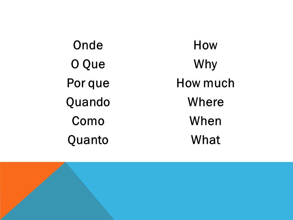 Onde O Que Por que Quando Como Quanto How Why How much Where When What