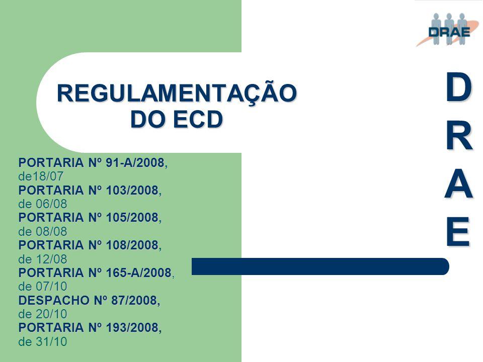 REGULAMENTAÇÃO DO ECD PORTARIA Nº 91-A/2008, de18/07 PORTARIA Nº 103/2008, de 06/08 PORTARIA Nº 105/2008, de 08/08 PORTARIA Nº 108/2008, de 12/08 PORT