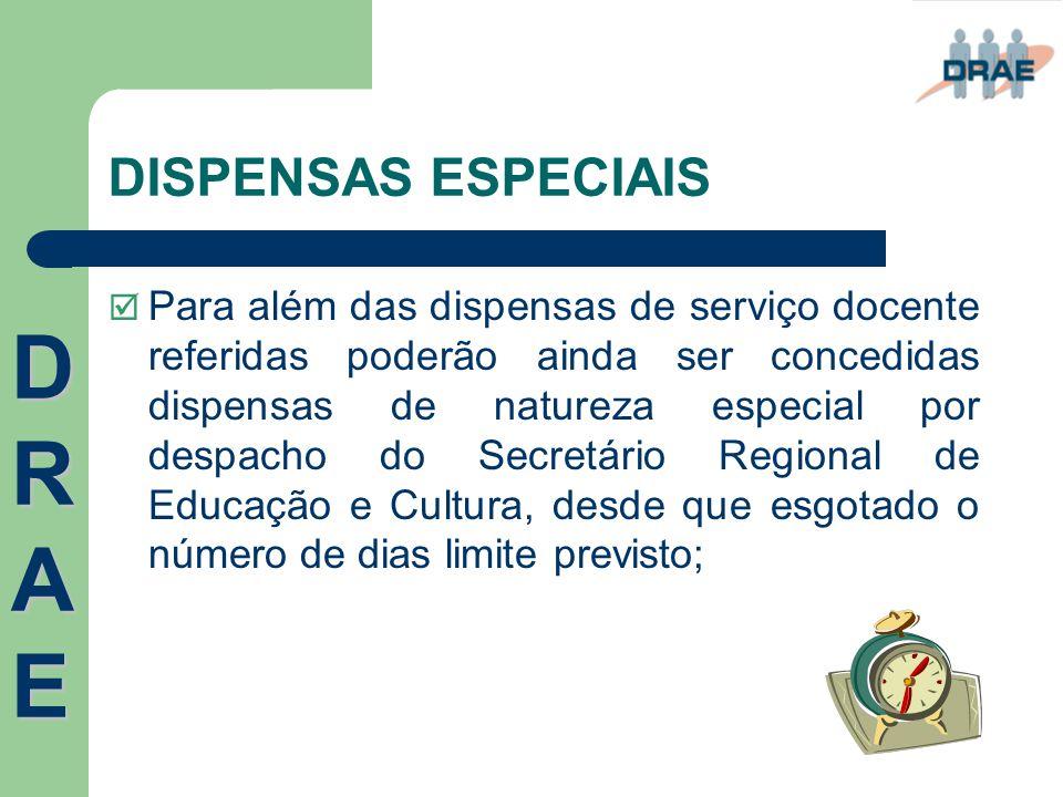 DISPENSAS ESPECIAIS  Para além das dispensas de serviço docente referidas poderão ainda ser concedidas dispensas de natureza especial por despacho do