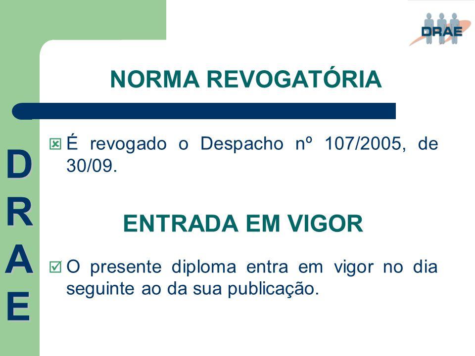 NORMA REVOGATÓRIA  É revogado o Despacho nº 107/2005, de 30/09. ENTRADA EM VIGOR  O presente diploma entra em vigor no dia seguinte ao da sua public