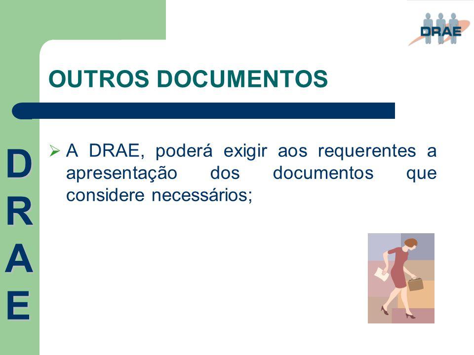 OUTROS DOCUMENTOS  A DRAE, poderá exigir aos requerentes a apresentação dos documentos que considere necessários; DRAEDRAEDRAEDRAE
