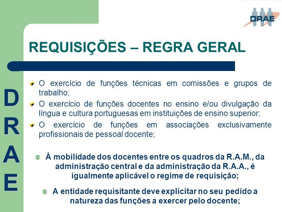 REQUISIÇÕES – REGRA GERAL O exercício de funções técnicas em comissões e grupos de trabalho; O exercício de funções docentes no ensino e/ou divulgação