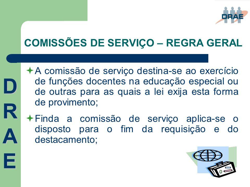 COMISSÕES DE SERVIÇO – REGRA GERAL  A comissão de serviço destina-se ao exercício de funções docentes na educação especial ou de outras para as quais