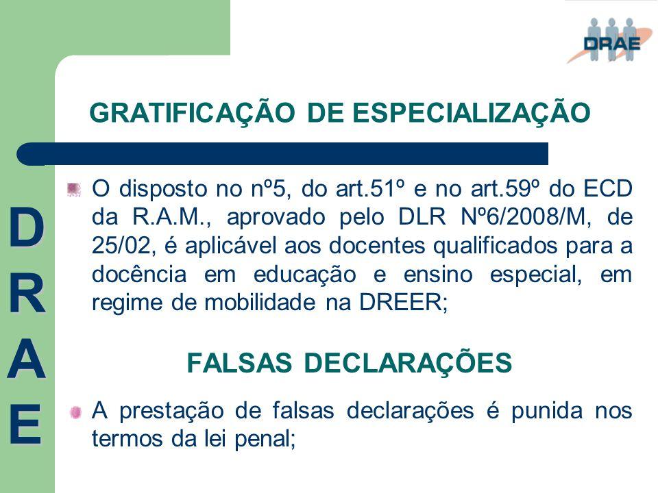 GRATIFICAÇÃO DE ESPECIALIZAÇÃO O disposto no nº5, do art.51º e no art.59º do ECD da R.A.M., aprovado pelo DLR Nº6/2008/M, de 25/02, é aplicável aos do