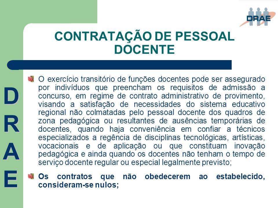 CONTRATAÇÃO DE PESSOAL DOCENTE O exercício transitório de funções docentes pode ser assegurado por indivíduos que preencham os requisitos de admissão