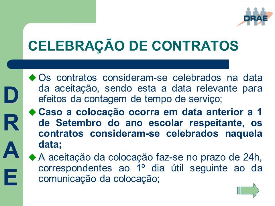CELEBRAÇÃO DE CONTRATOS  Os contratos consideram-se celebrados na data da aceitação, sendo esta a data relevante para efeitos da contagem de tempo de