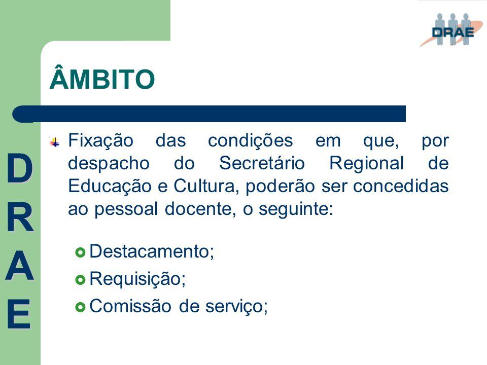 ÂMBITO Fixação das condições em que, por despacho do Secretário Regional de Educação e Cultura, poderão ser concedidas ao pessoal docente, o seguinte: