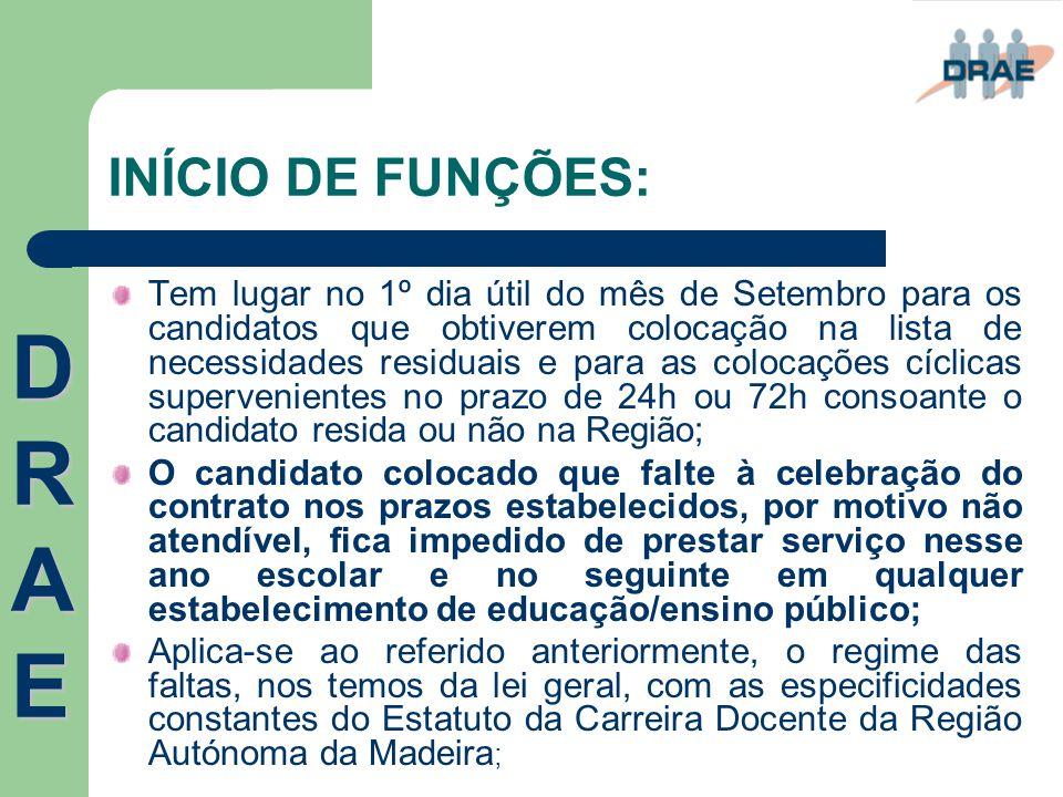 INÍCIO DE FUNÇÕES: Tem lugar no 1º dia útil do mês de Setembro para os candidatos que obtiverem colocação na lista de necessidades residuais e para as