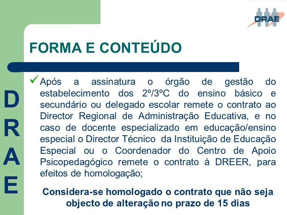 FORMA E CONTEÚDO  Após a assinatura o órgão de gestão do estabelecimento dos 2º/3ºC do ensino básico e secundário ou delegado escolar remete o contra