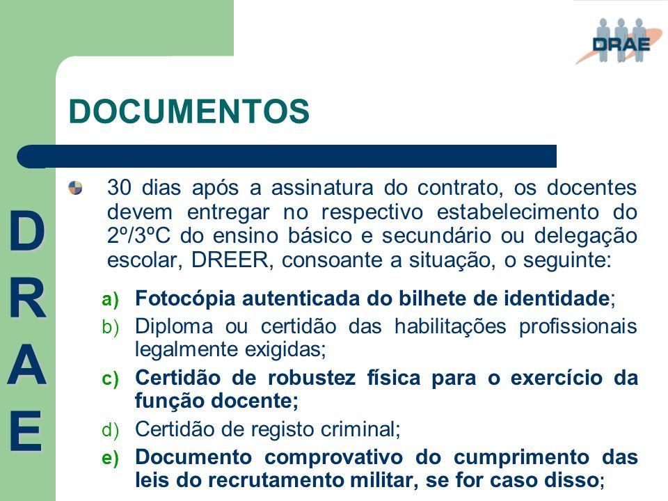 DOCUMENTOS 30 dias após a assinatura do contrato, os docentes devem entregar no respectivo estabelecimento do 2º/3ºC do ensino básico e secundário ou