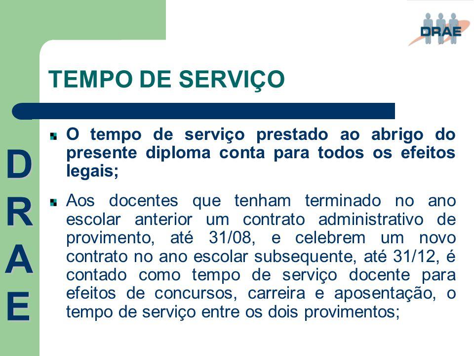 TEMPO DE SERVIÇO O tempo de serviço prestado ao abrigo do presente diploma conta para todos os efeitos legais; Aos docentes que tenham terminado no an