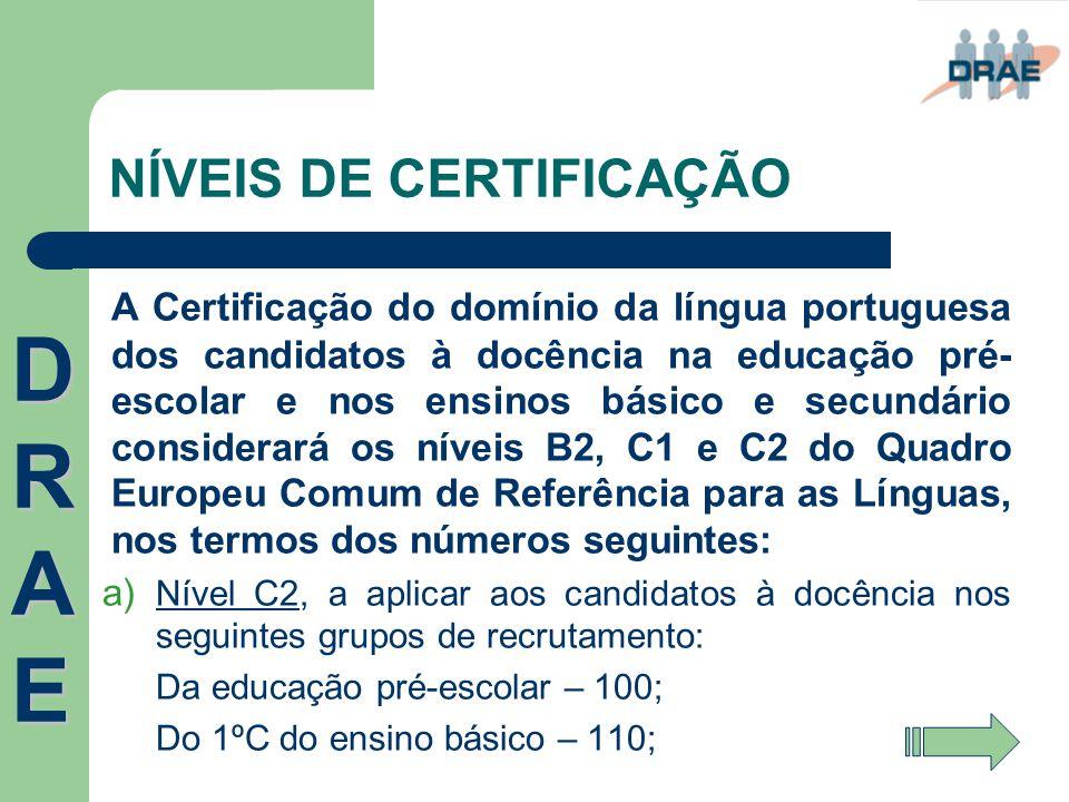 NÍVEIS DE CERTIFICAÇÃO A Certificação do domínio da língua portuguesa dos candidatos à docência na educação pré- escolar e nos ensinos básico e secund