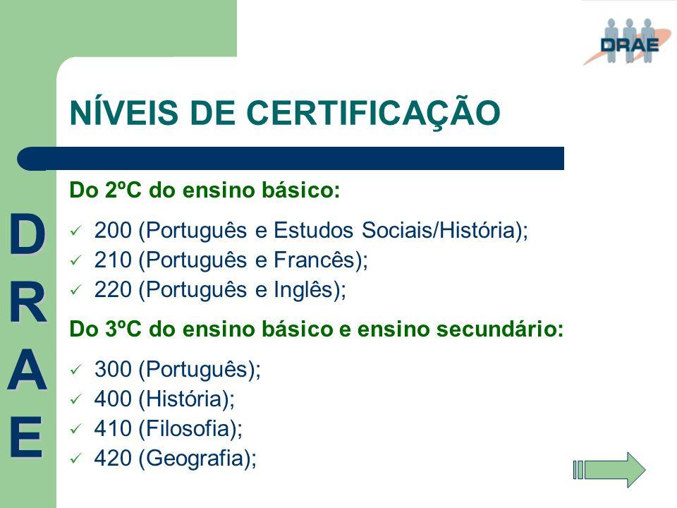 NÍVEIS DE CERTIFICAÇÃO Do 2ºC do ensino básico:  200 (Português e Estudos Sociais/História);  210 (Português e Francês);  220 (Português e Inglês);