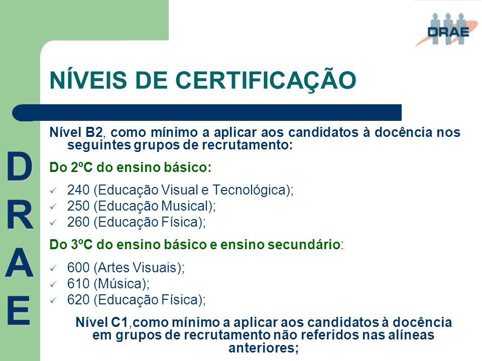 NÍVEIS DE CERTIFICAÇÃO Nível B2, como mínimo a aplicar aos candidatos à docência nos seguintes grupos de recrutamento: Do 2ºC do ensino básico:  240