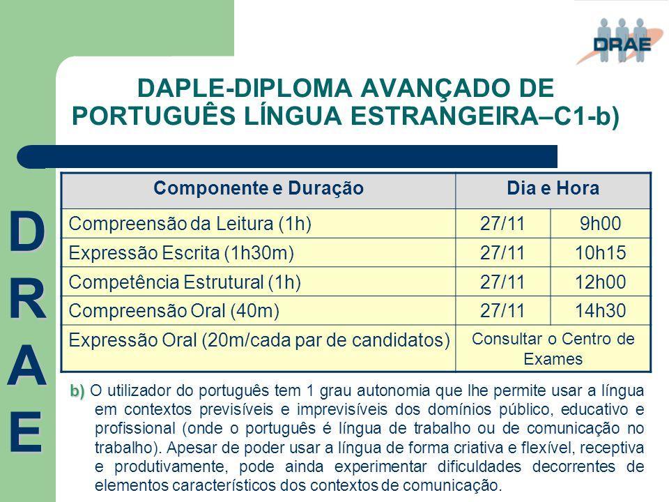 DAPLE-DIPLOMA AVANÇADO DE PORTUGUÊS LÍNGUA ESTRANGEIRA–C1-b) Componente e DuraçãoDia e Hora Compreensão da Leitura (1h)27/119h00 Expressão Escrita (1h