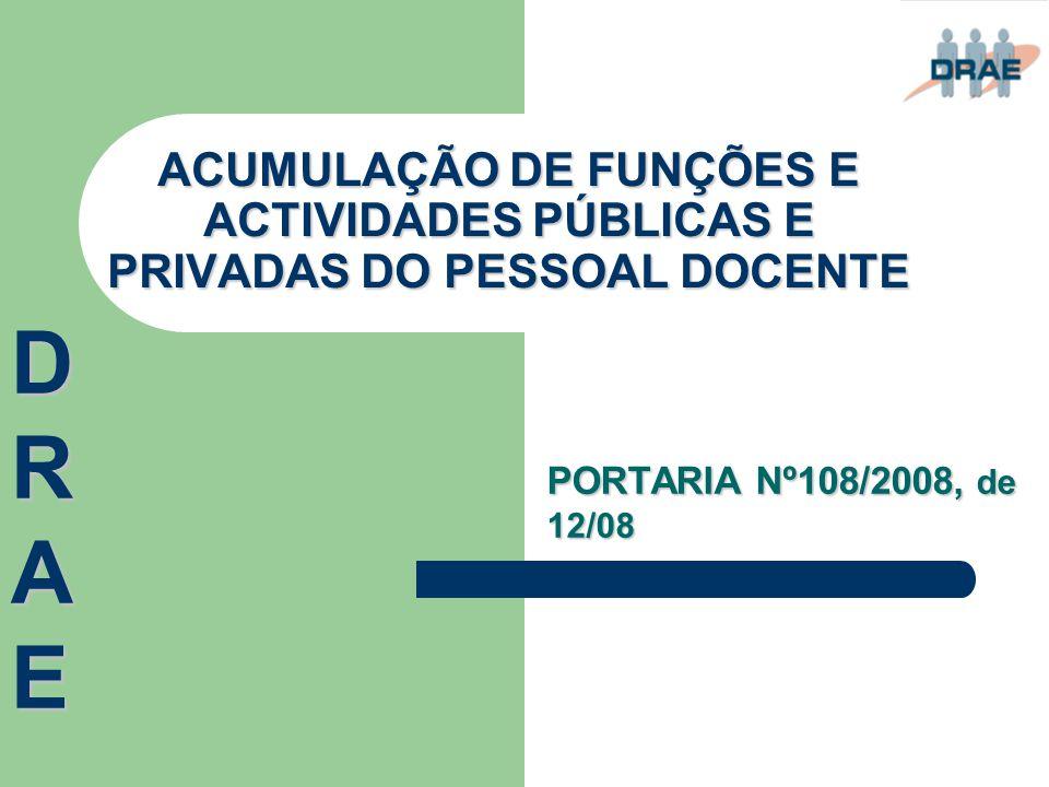 ACUMULAÇÃO DE FUNÇÕES E ACTIVIDADES PÚBLICAS E PRIVADAS DO PESSOAL DOCENTE PORTARIA Nº108/2008, de 12/08 DRAEDRAEDRAEDRAE