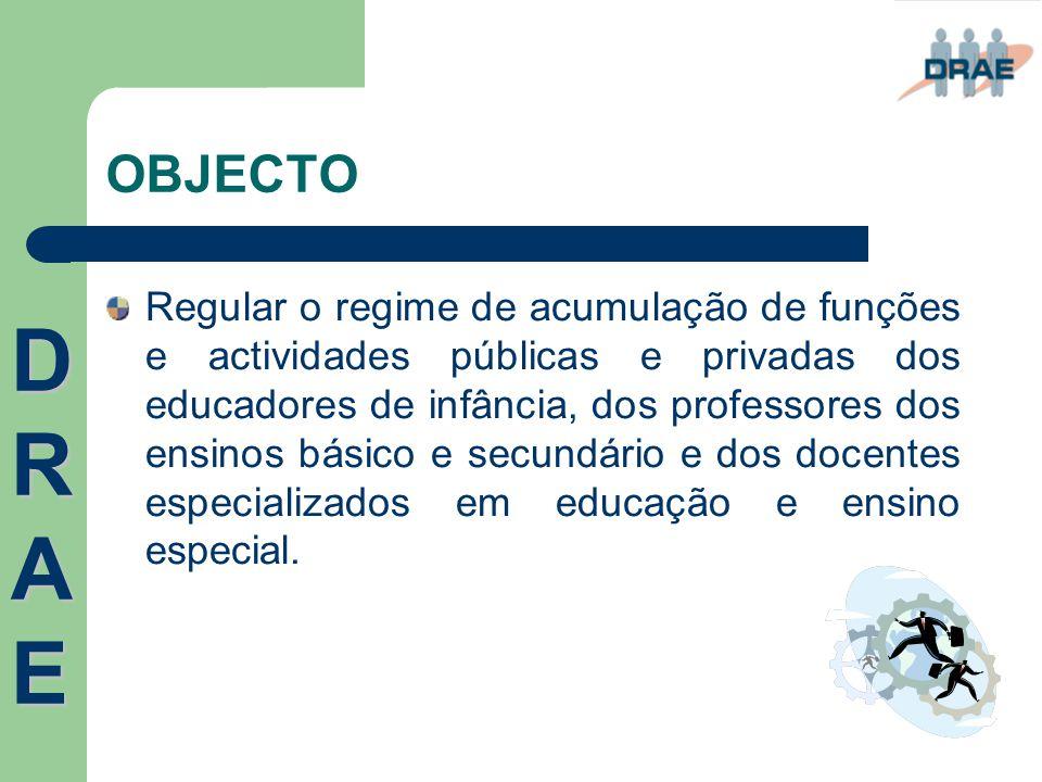 OBJECTO Regular o regime de acumulação de funções e actividades públicas e privadas dos educadores de infância, dos professores dos ensinos básico e s