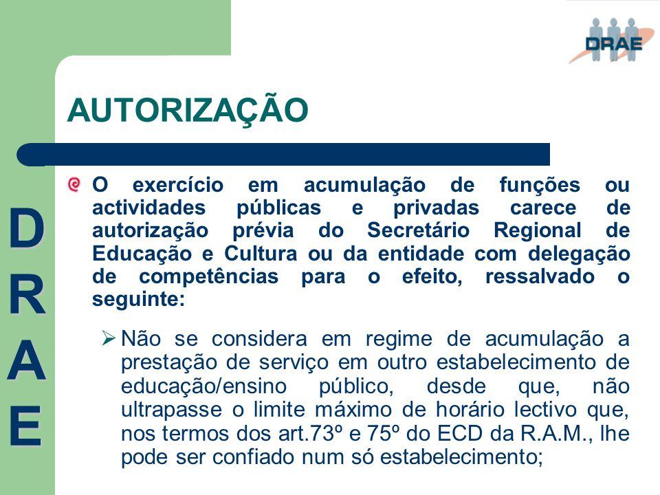 AUTORIZAÇÃO O exercício em acumulação de funções ou actividades públicas e privadas carece de autorização prévia do Secretário Regional de Educação e