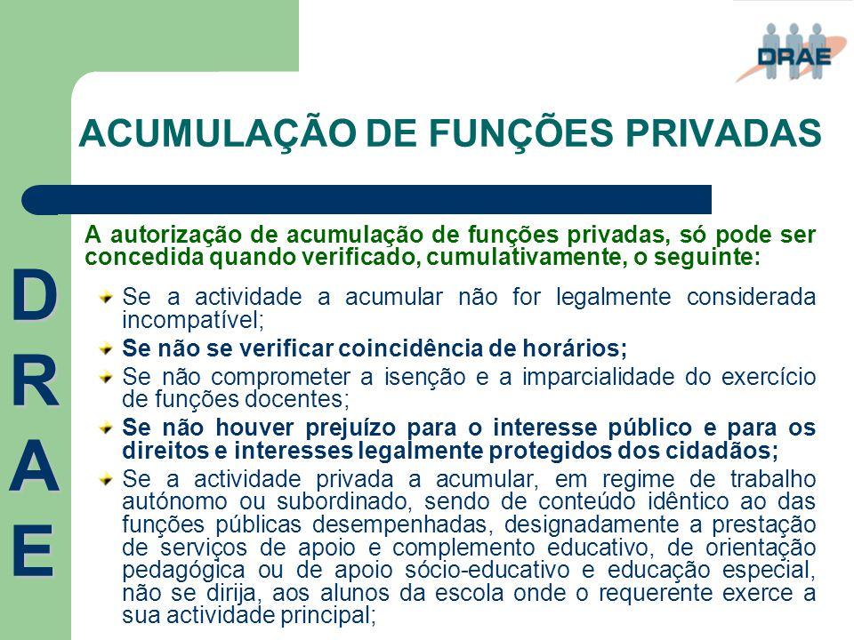ACUMULAÇÃO DE FUNÇÕES PRIVADAS A autorização de acumulação de funções privadas, só pode ser concedida quando verificado, cumulativamente, o seguinte: