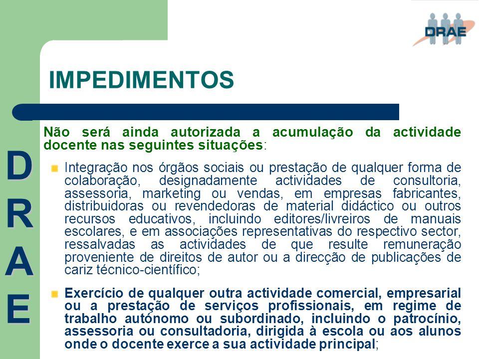 IMPEDIMENTOS Não será ainda autorizada a acumulação da actividade docente nas seguintes situações : Integração nos órgãos sociais ou prestação de qual