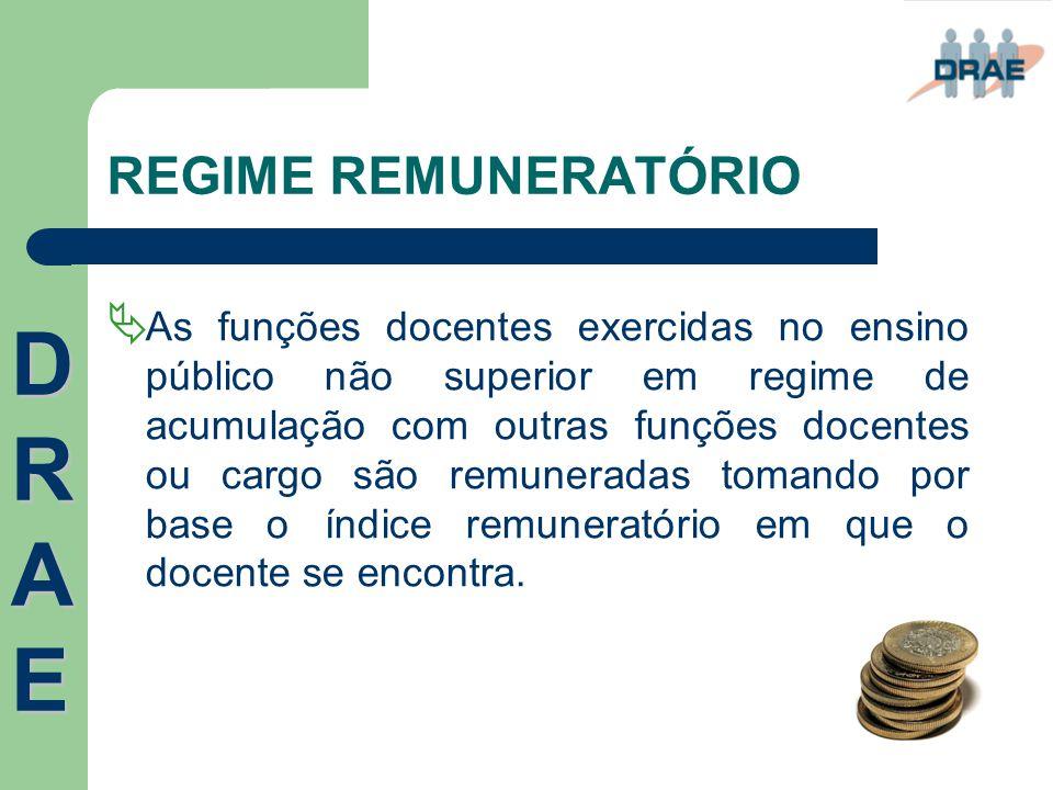 REGIME REMUNERATÓRIO  As funções docentes exercidas no ensino público não superior em regime de acumulação com outras funções docentes ou cargo são r