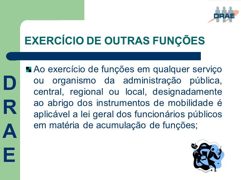 EXERCÍCIO DE OUTRAS FUNÇÕES Ao exercício de funções em qualquer serviço ou organismo da administração pública, central, regional ou local, designadame